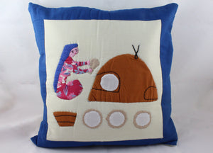 Load image into Gallery viewer, Handmade Patchwork Cushion Cover - Woman Baking Bread