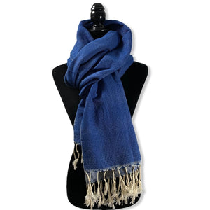 Load image into Gallery viewer, Diamond Handwoven Cotton Shawl - Navy & White