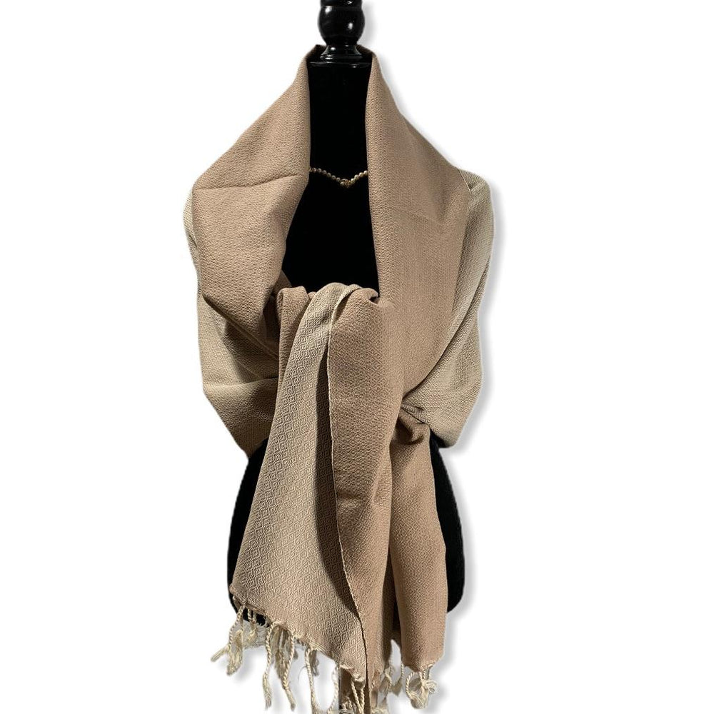 Diamond Handwoven Cotton Shawl - Beige & Off-white