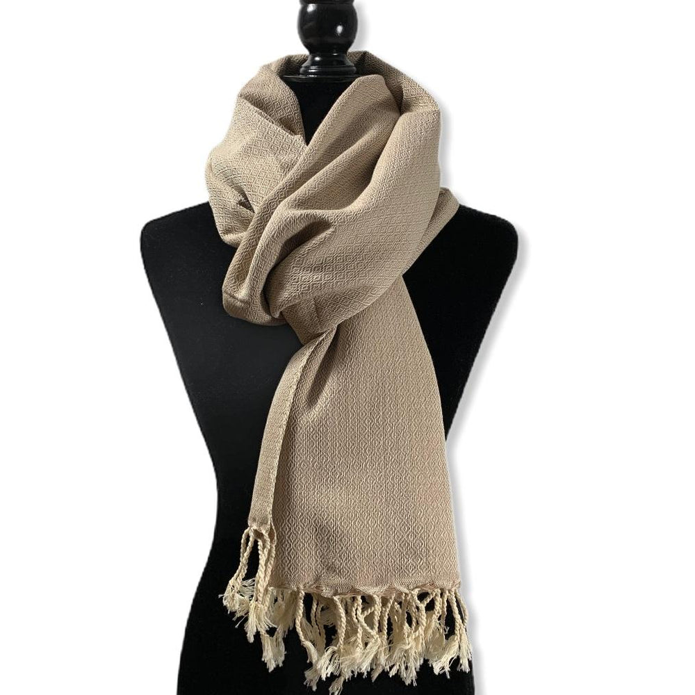 Load image into Gallery viewer, Diamond Handwoven Cotton Shawl - Beige & Off-white