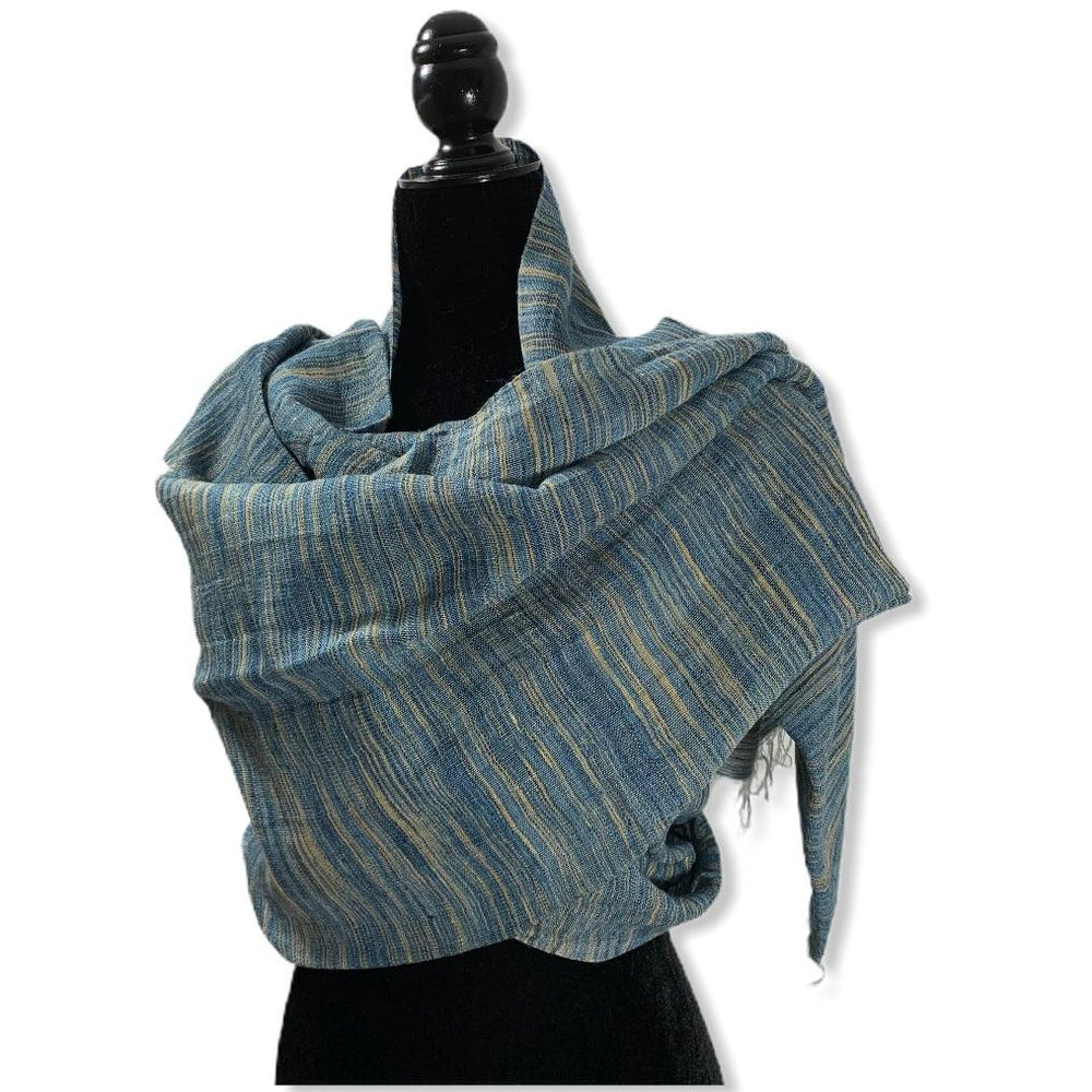 Load image into Gallery viewer, Linen Handwoven Scarf - Variegated Blue