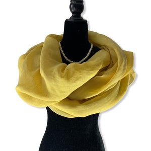 Load image into Gallery viewer, Linen Handwoven Scarf - Canary Yellow