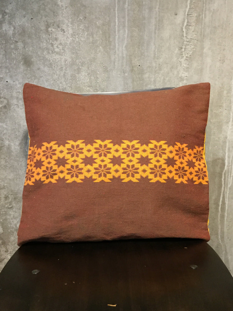 Handwoven Egyptian Cotton Cushion Cover - Flowers & Stars Motif