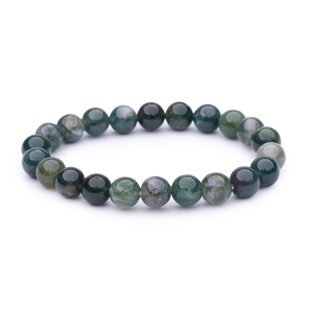 Power bracelet (8mm) - Moss Agate