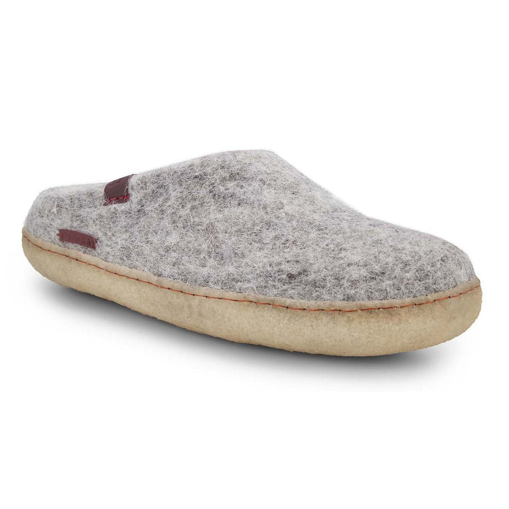 Classic Wool Felt Slipper Adult - Grey with Rubber