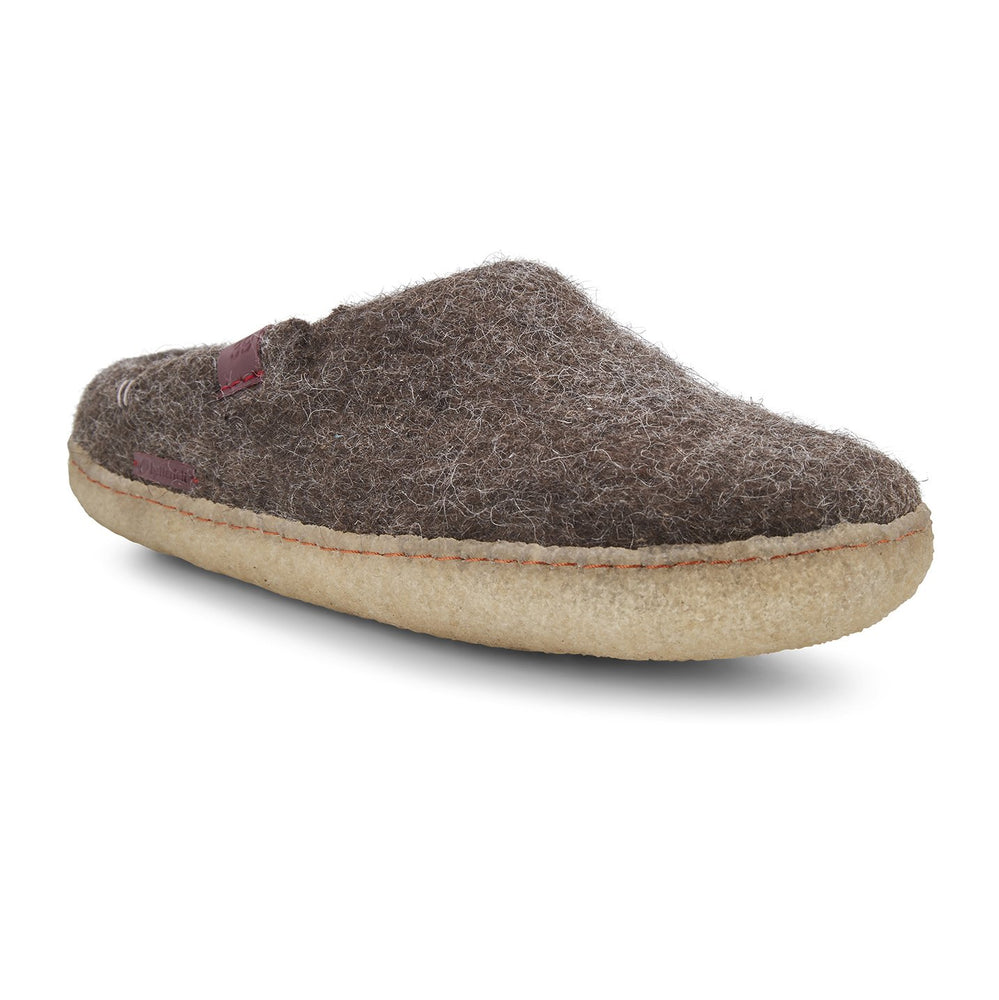 Classic Wool Felt Slipper Adult - Brown with Rubber