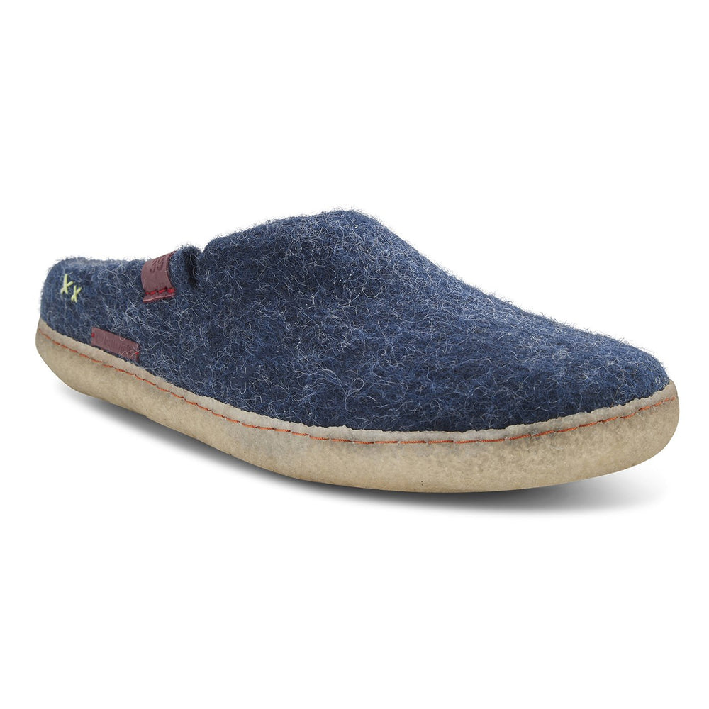 Classic Wool Felt Slipper Adult - Navy Blue with Rubber