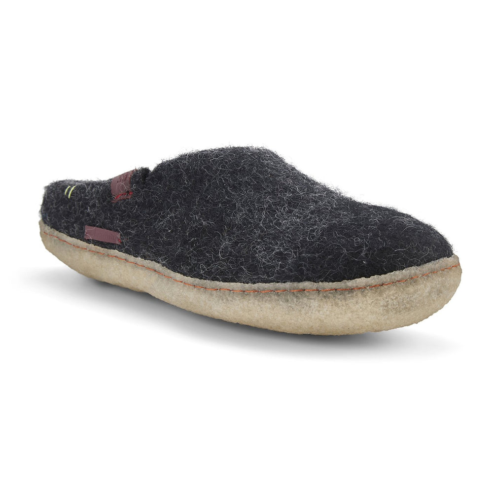 Wool Felt Slipper Adult - Black with Rubber