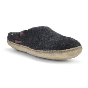 Load image into Gallery viewer, Wool Felt Slipper Adult - Black with Rubber