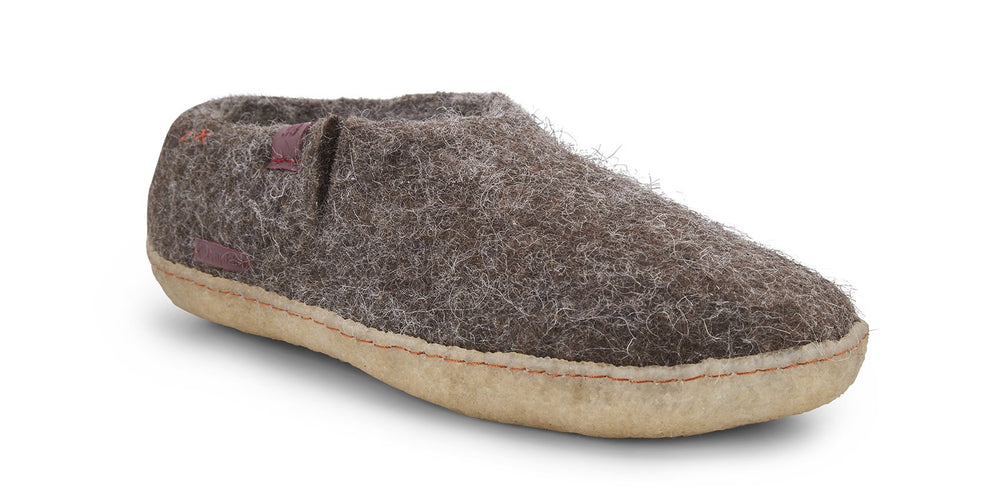 Wool Felt Shoe - Brown with Rubber