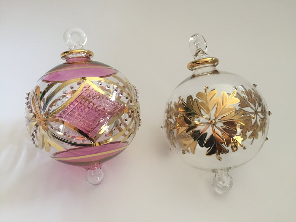 Load image into Gallery viewer, Blown Glass Ornament - Pink Carousel