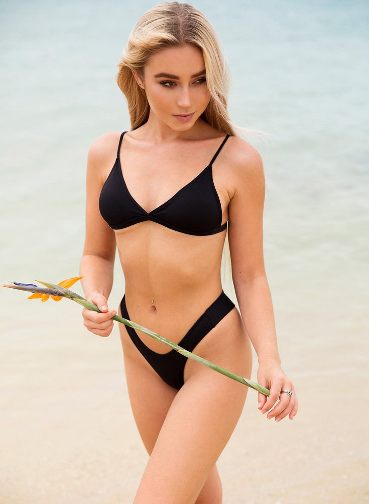 Load image into Gallery viewer, Passiflora Bikini Bottom - Black
