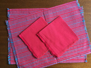 Load image into Gallery viewer, Handwoven Placemats & Napkins - Red & Blue