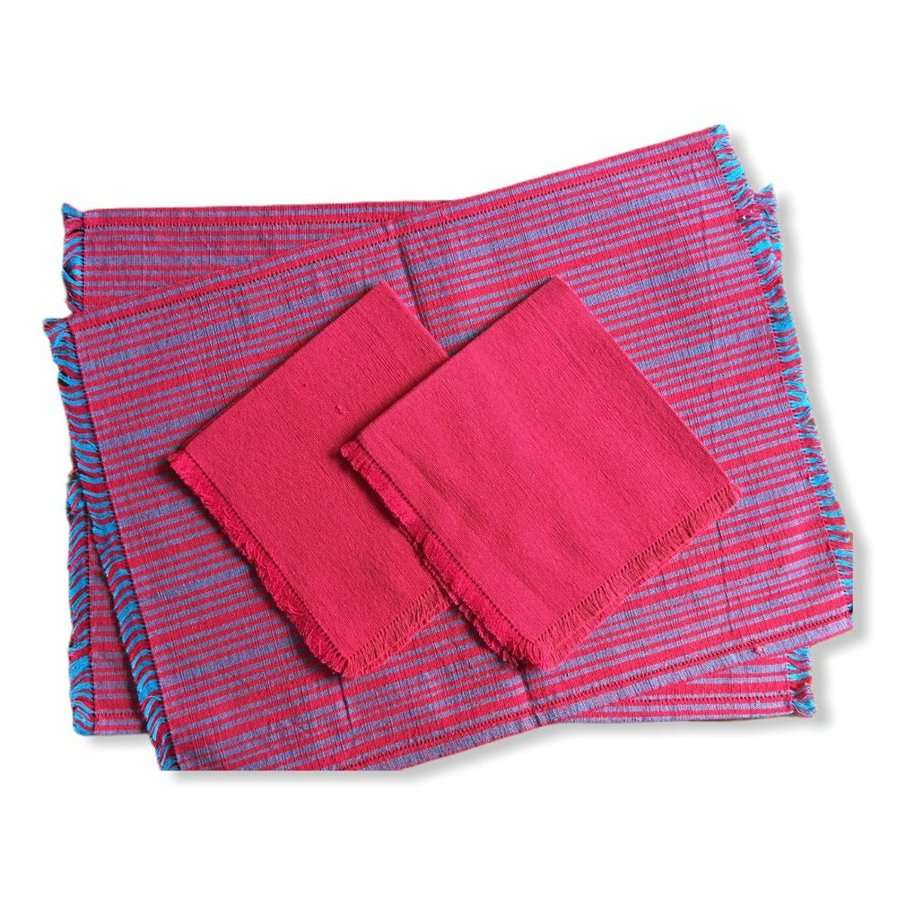 Handwoven Placemats & Napkins - Red & Blue