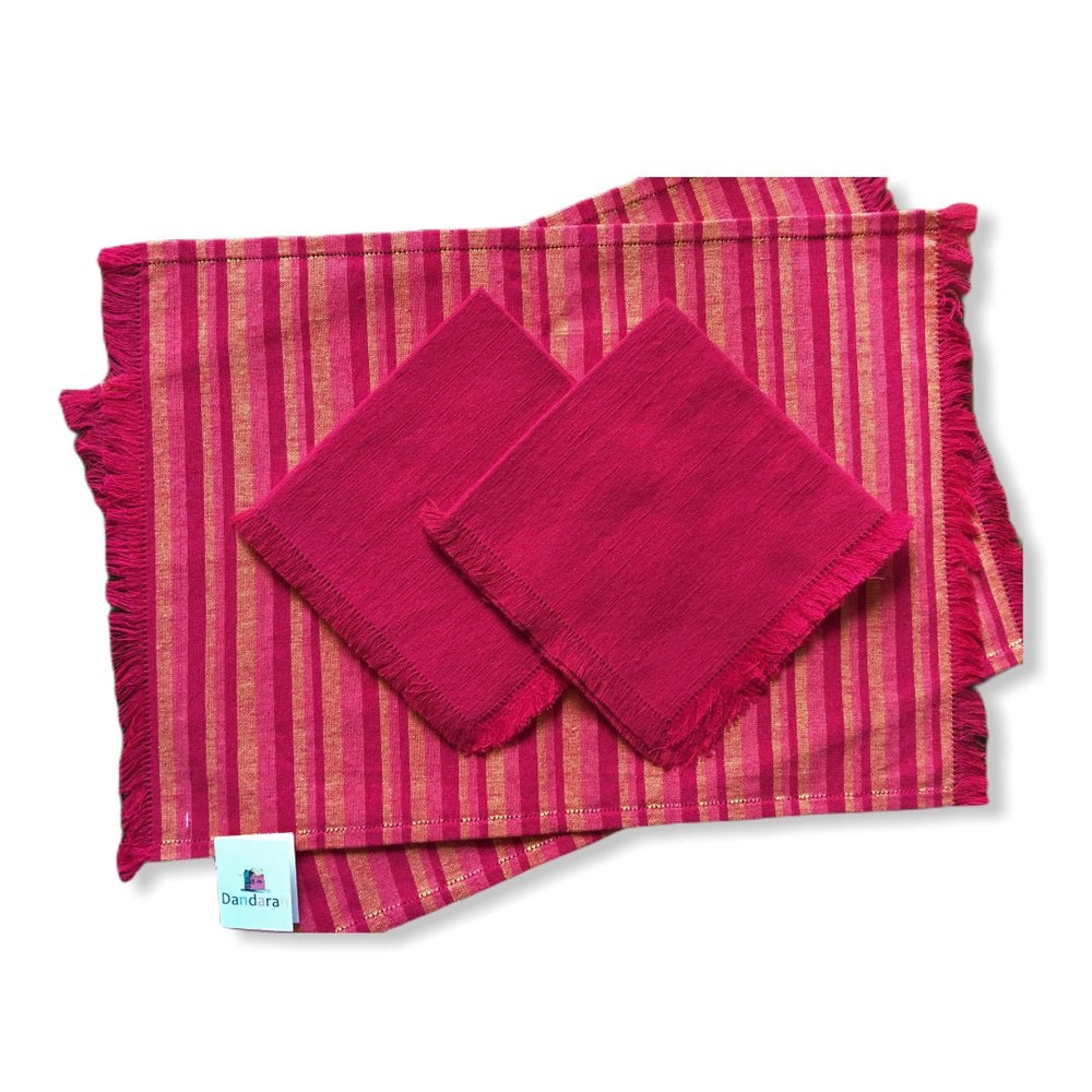 Handwoven Placemats & Napkins - Red & Orange