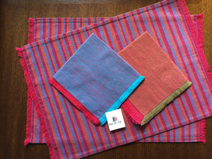 Load image into Gallery viewer, Handwoven Placemats & Napkins - Apricot & Blue
