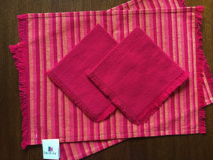 Load image into Gallery viewer, Handwoven Placemats & Napkins - Red & Orange