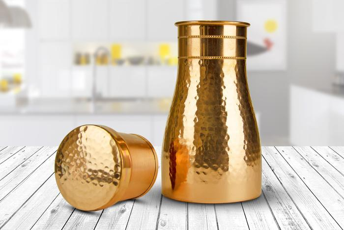 Load image into Gallery viewer, Pure Copper Water Carafe  with Lid