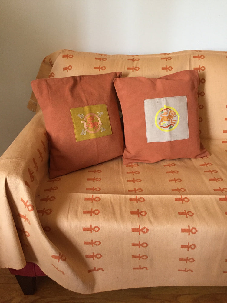 Handwoven Egyptian Cotton Bed / Sofa Cover - Ankh