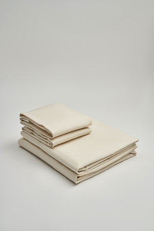 Load image into Gallery viewer, Organic and Fairtrade Warm + Luxurious Cotton Bed Sheet Set in Natural