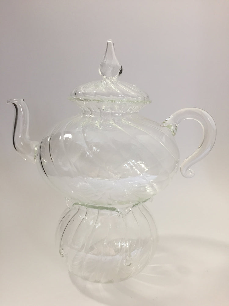 Blown Glass Teapot with Warmer - Wavy Design