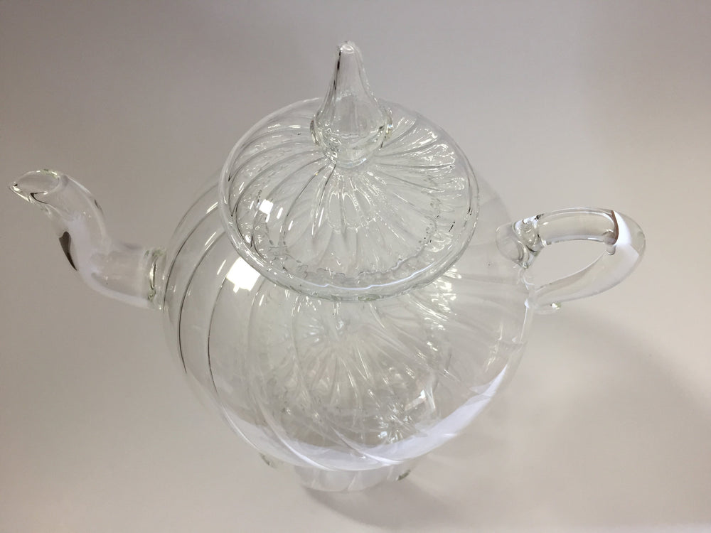 Load image into Gallery viewer, Blown Glass Teapot with Warmer - Wavy Design
