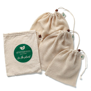 Load image into Gallery viewer, GOTS Certified Organic Cotton Produce Bags Set