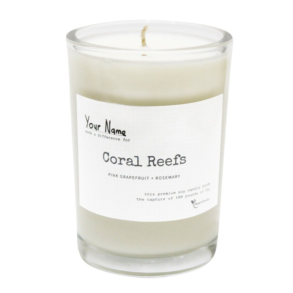 Load image into Gallery viewer, Coral Reef Soy Candle - 8.5 oz Pink Grapefruit & Rosemary Scented in Clear Glass, 65+ Hours of Clean Burning