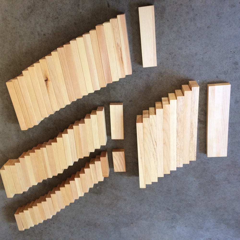Load image into Gallery viewer, Extra big set of wood blocks / building blocks / 70 pieces / Waldorf / Montessori