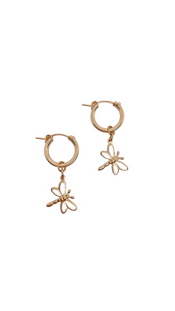Load image into Gallery viewer, Golden Dragonfly Hoops