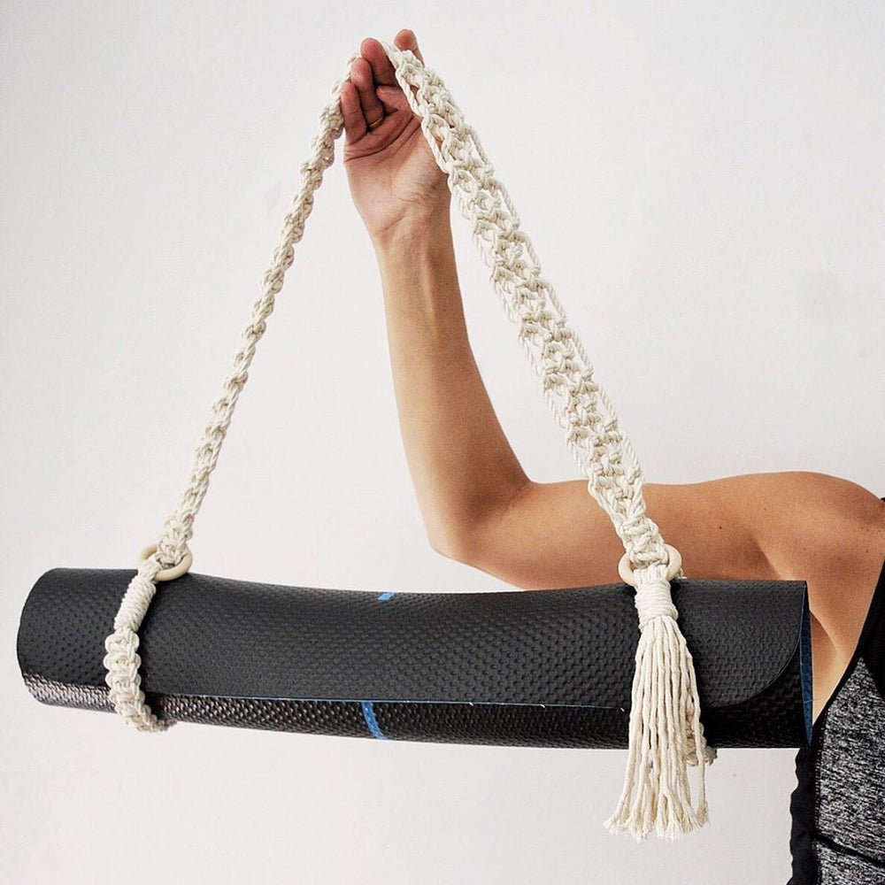 Load image into Gallery viewer, Handmade macrame yoga mat strap