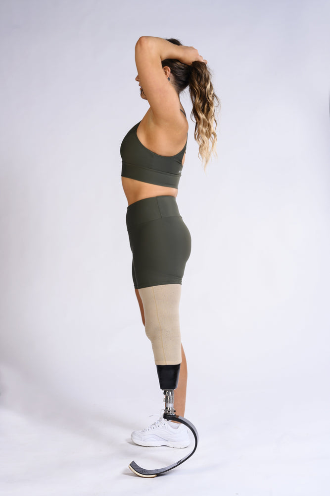 Load image into Gallery viewer, Olive Green DRIVEN Sports Bra