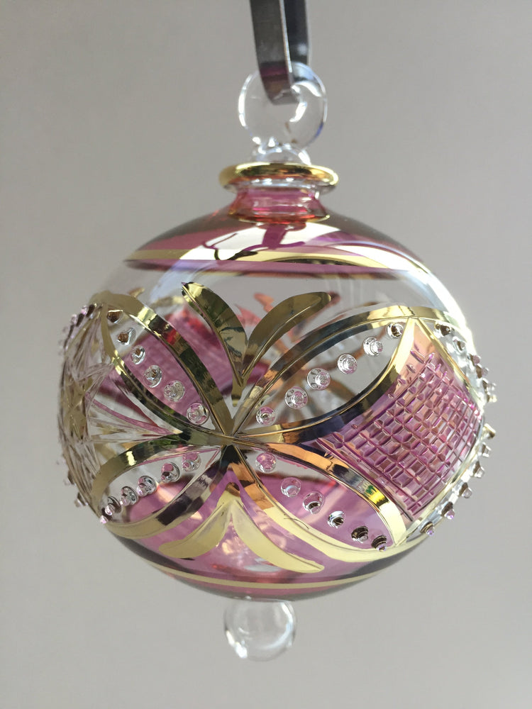 Blown Glass Ornament - Pink Carousel