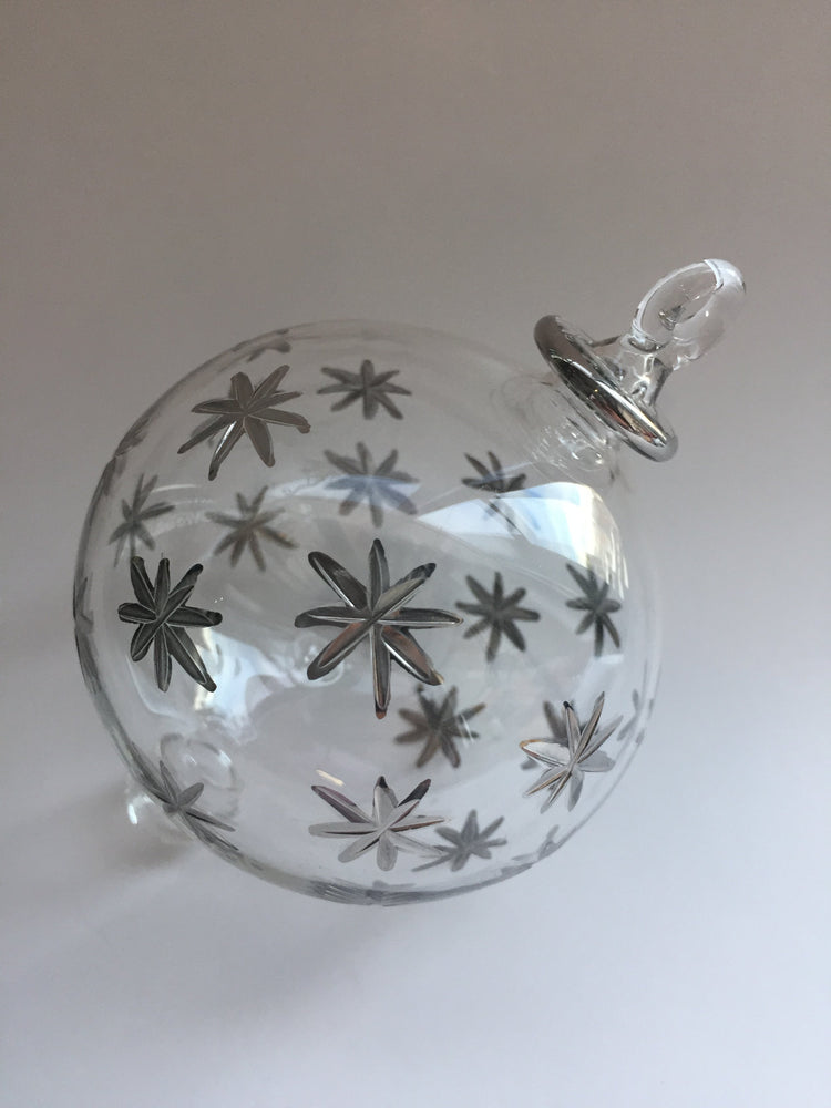 Load image into Gallery viewer, Blown Glass Ornament - Silver Stars