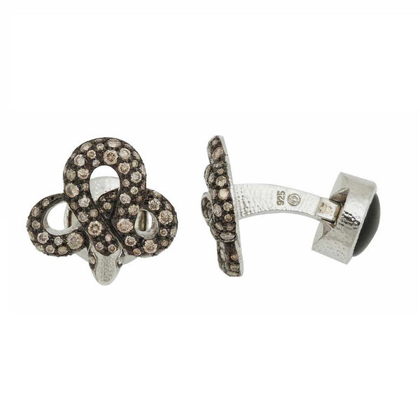 Snake Cufflinks with Brown Diamonds