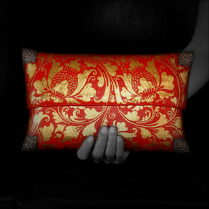 Red & Gold Painted Handbag with Silver Conners