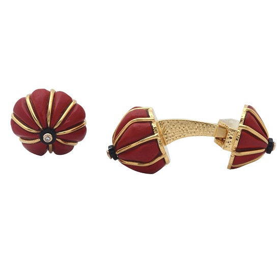 Red Lacquer Pumpkin Carved Bead Cufflink