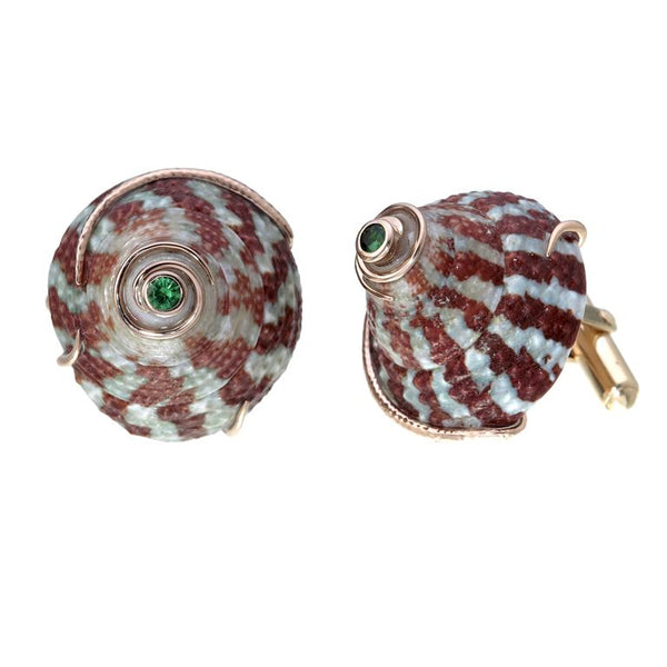 Top Shell Cufflink with Tsavorite