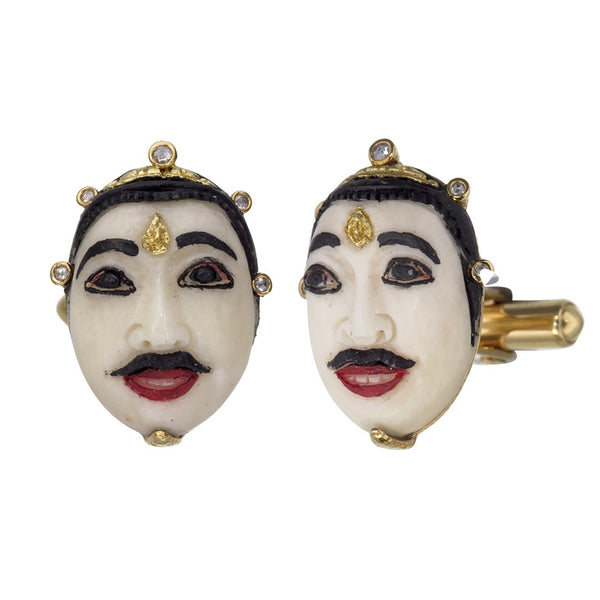 Carved White Bone Baliness Mask Cufflink