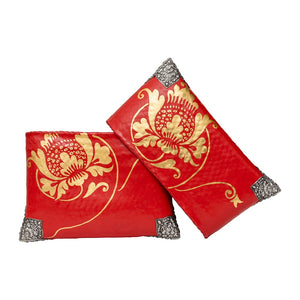 Red and Gold Lotus Painted Bamboo Handbag