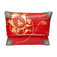 Load image into Gallery viewer, Red and Gold Lotus Painted Bamboo Handbag
