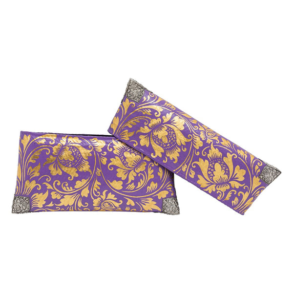 Violet & Gold Painted Handbagwith Silver Corners