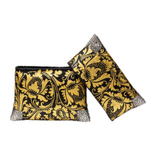 Load image into Gallery viewer, Black & Gold Painted Handbag with Silver Corners