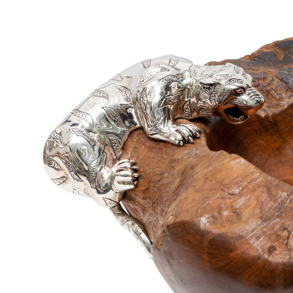 Teak Bowl with Tiger