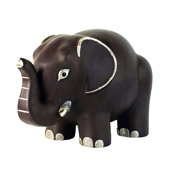 Brown Leather Elephant Stool