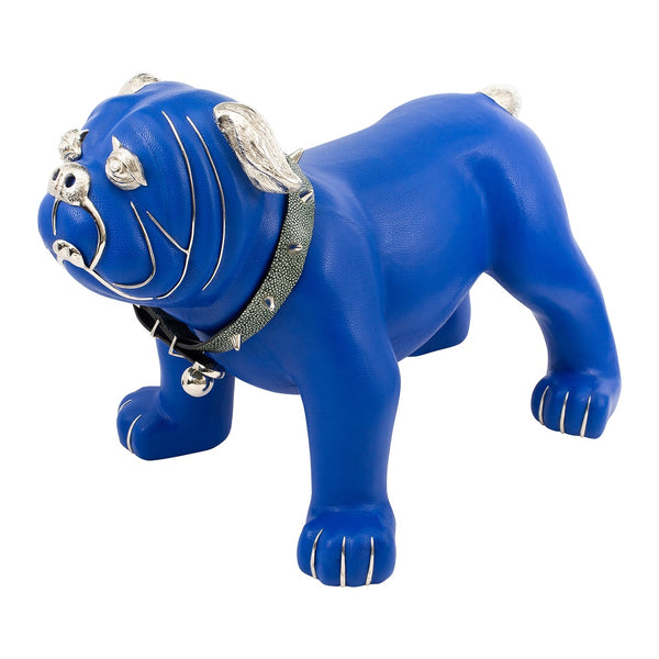 Blue Leather Bulldog Stool