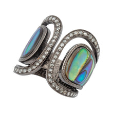 Load image into Gallery viewer, Abalone Shell Ring Decorated with Diamond