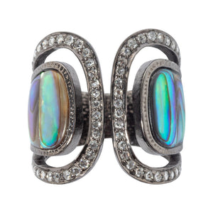 Abalone Shell Ring Decorated with Diamond