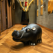 Load image into Gallery viewer, Brown Leather Hippo Stool