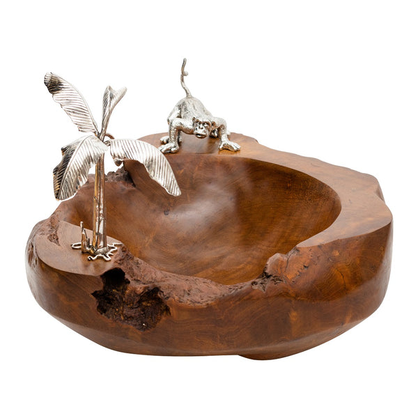 Wooden Bowl with Monkey and Banana Tree